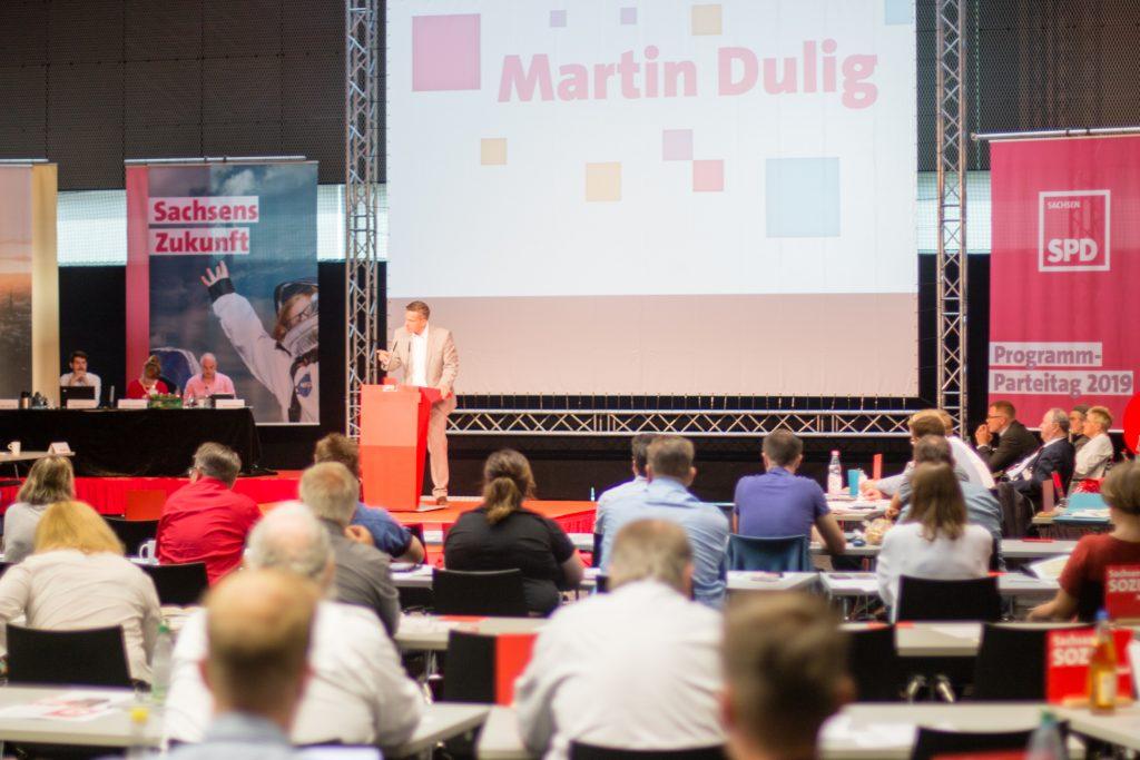 SPD-Chef Martin Dulig stimmte die Delegierten auf den anstehenden Landtagswahlkampf ein.